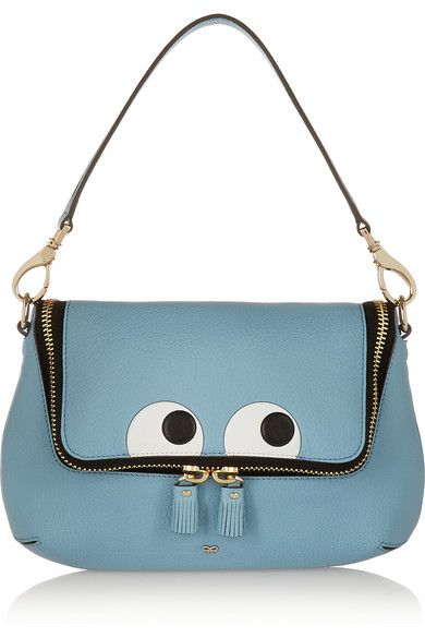 Anya Hindmarch ~ Maxi zipped Embossed Textured Leather Shoulder Bag, Blue 2015
