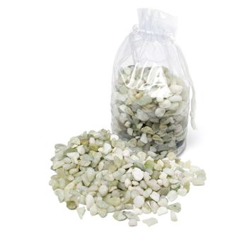 MINI POLISHED STONES - add polish to floral displays, hold stems or candles in place in hurricane lamps, or top potted plants.  Natural green-toned stones