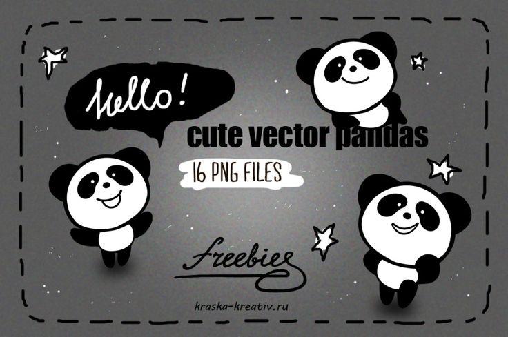 FREE! cute vector PANDAS   by Krasnih Katerina