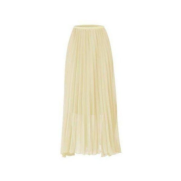 Yoins Beige Chiffon Pleated Maxi Skirt ($25) ❤ liked on Polyvore featuring skirts, long chiffon skirt, pleated chiffon maxi skirt, beige skirt, long pleated skirt and pleated chiffon skirt
