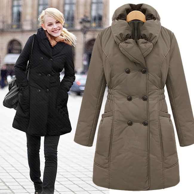 2013 fashion winter thermal slim double breasted long design cotton-padded jacket women's wadded jacket 8124 $35.24