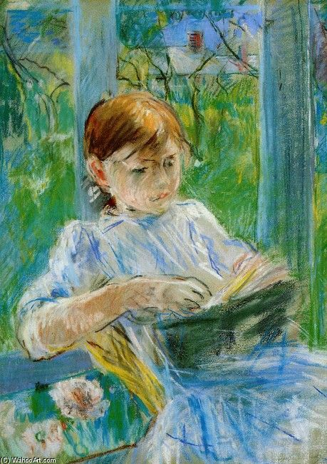 Berthe Morisot Little girl reading: