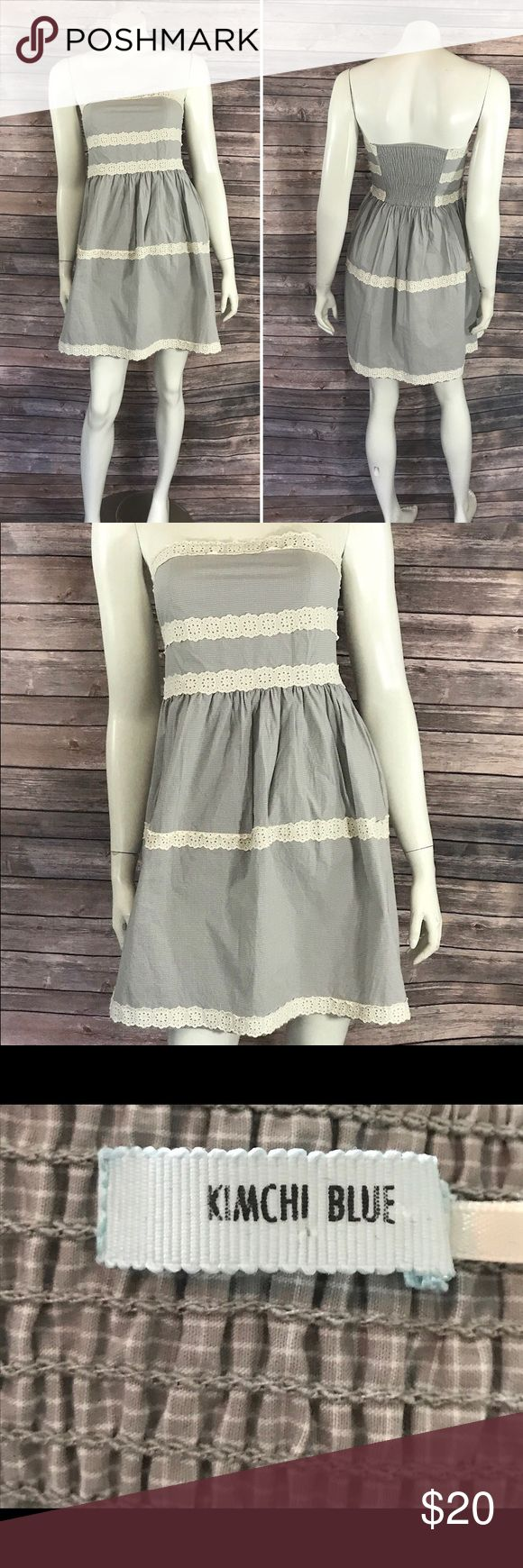 Kimchi Blue Womens Sun Dress Size Small Gray Beige Kimchi Blue Womens Sun Dress Size Small Gray Beige Strapless Urban Outfitters. Measurements: (in inches) Underarm to underarm: 14 Length: 26 Waist: 26  Good, gently used condition Kimchi Blue Dresses Mini