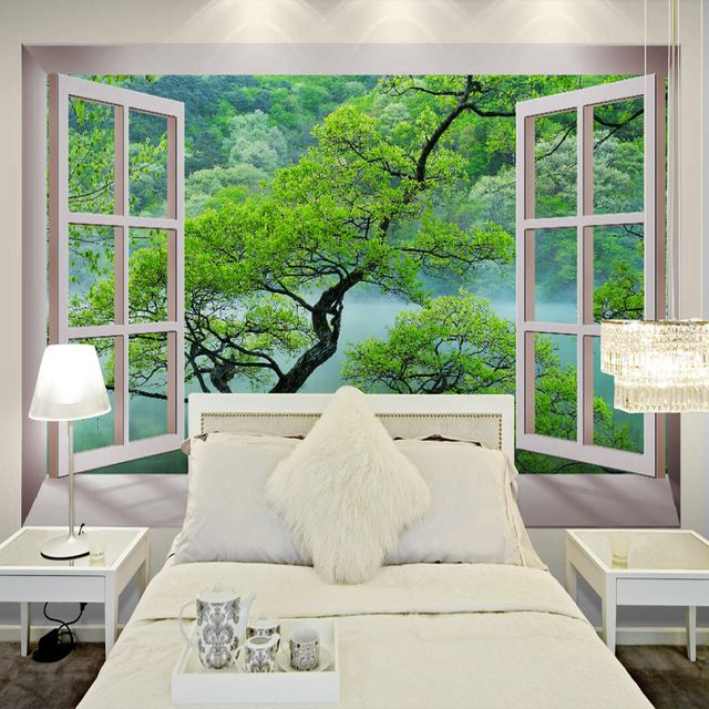 Free shipping 3d fake windows tree landscape wallpaper for Tree wallpaper bedroom