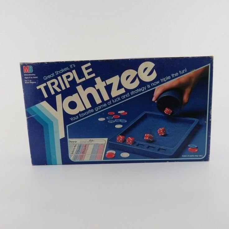 Triple Yahtzee Dice Game Milton Bradley 1982 w/ 2 Vintage Puerto Rico Pencils #MiltonBradley