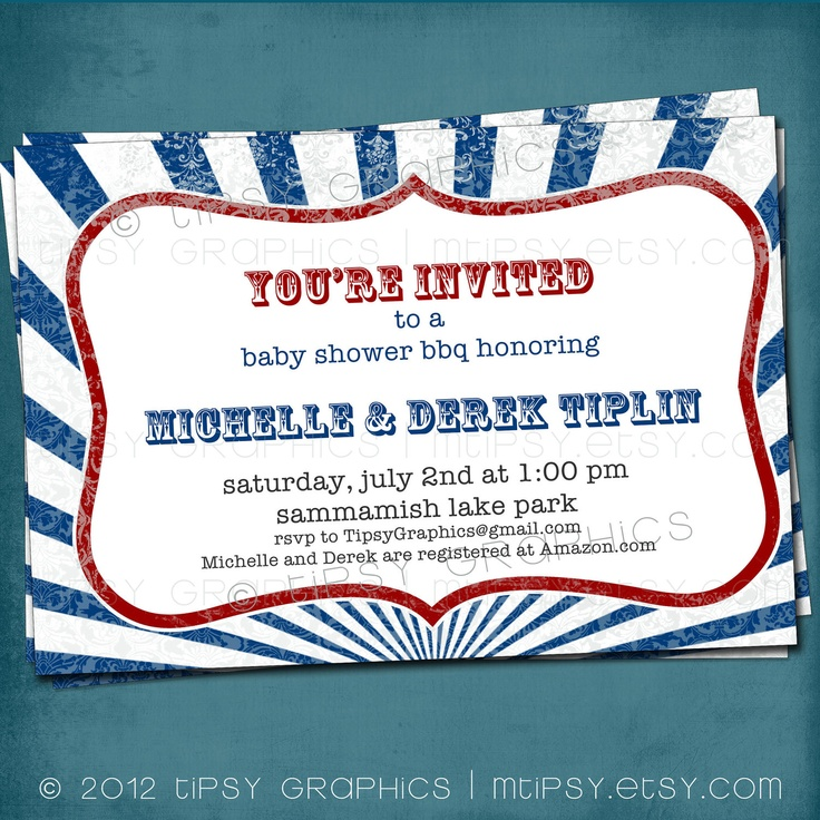 Red White & Blue Distressed Stripe 4th Of July BBQ Party