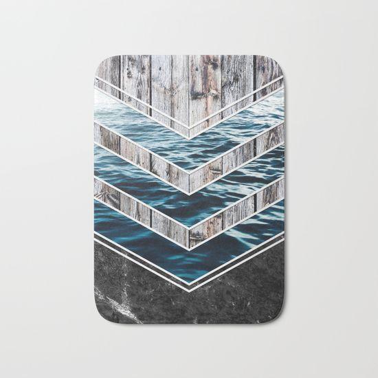 Striped Materials of Nature III Bath Mat #wood #wooden #marble #stone #sea #ocean #stripe #stripes #striped #nature #texture #wallart #homedecor #bathmat #mat