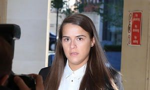 Gayle Newland arriving at Manchester crown court.