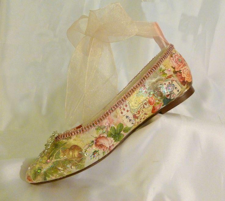 Alice In Wonderland Theme Ballet Flats.. Bespoke Custom Design Wedding Shoes. $375.00 Via Etsy ...