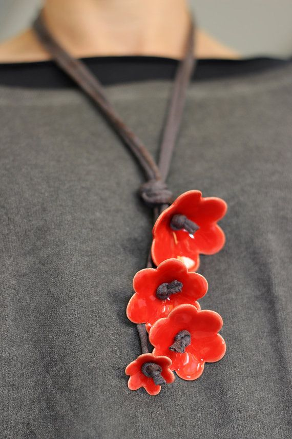 Beautiful and Funky! Red Ceramic Flower Necklace by Tzadsheni