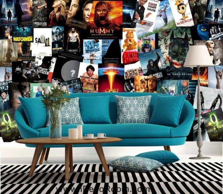 wakllpaper collague of dvd film covers on wall Art Wall Murals Wallpaper Decals Prints Decor IDCWP-JB-000503