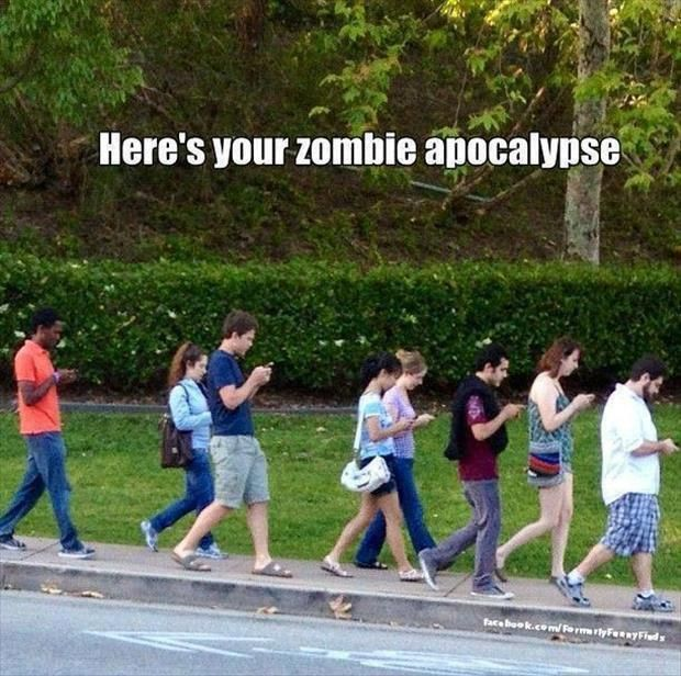 zombie apocalypse I hate when I see everyone like this especially at a dinner table so rude.
