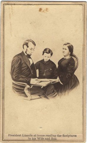 Image: President Lincoln at home reading the Scriptures to his Wife and Son