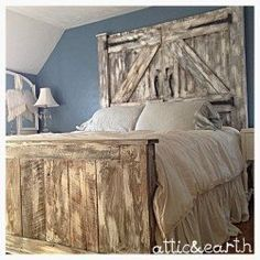This handmade headboard and footboard are a custom order and may differ from the picture shown. The headboard and footboard have a white distressed finish and were made using rough cut lumber. The hea