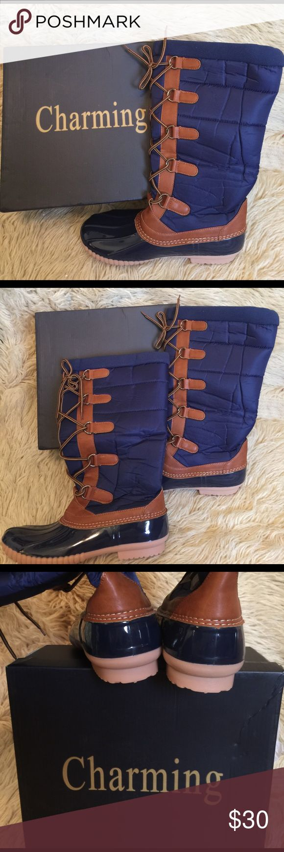 """Dark Blue & Cognac CHARMING LADY Puffer Duck Boots Dark Blue & Cognac CHARMING LADY Puffer Duck Boots, size 9.  1"""" heel.  15"""" shaft.  15.5"""" circumference.  Man-made upper.  Fabric lining.  Man-made sole. Charming Lady Shoes Winter & Rain Boots"""