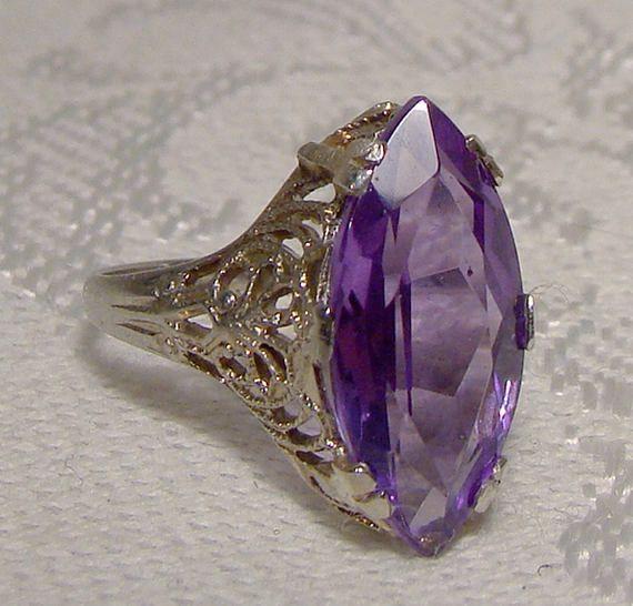 14K White Gold Filigree Art Deco Synthetic Alexandrite Ring