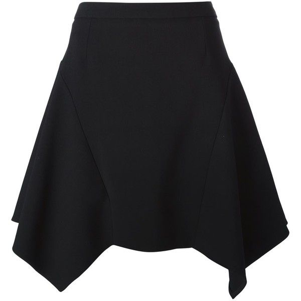 Stella McCartney Asymmetric Skirt (1.281.235 COP) ❤ liked on Polyvore featuring skirts, mini skirts, black, high waisted short skirts, asymmetrical short skirt, stella mccartney, high-waisted skirts and short black mini skirt