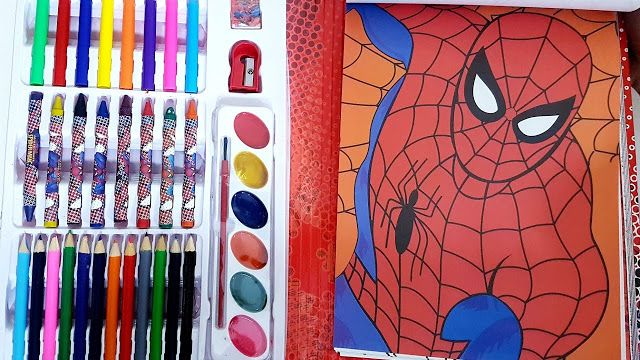 Spider Man Coloring Book With Coloring Book And Coloring Set Mix Mood Kids Tv Coloring Books Spiderman Coloring Color Set
