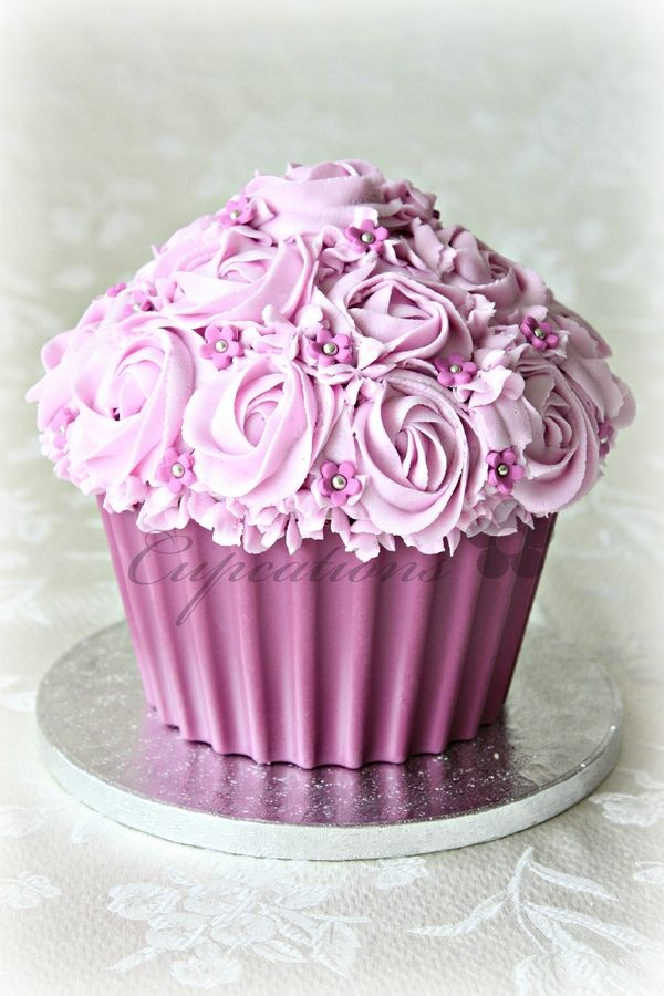 This is beautiful, I've seen some seriously dodgy giant cupcakes online, but this is perfect! I don't think you should pipe the top unless you do some serious practice before hand.  Pink Giant Cupcake — Cupcakes!  Cake central.com