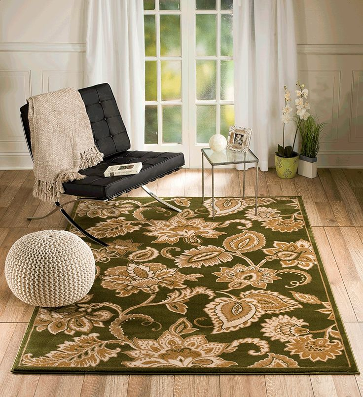 Summit Gulistan no. 2831 Green Floral Transitional Area Rug Modern Abstract Rug (2x3 scatter door mat size) -- Startling big discounts available here : Free Home and Kitchen