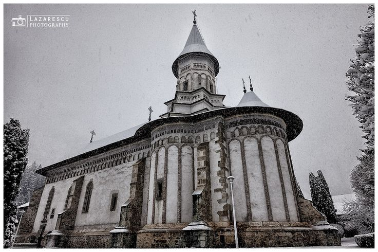 The monastery - The orthodox monastery of Bistrita from Romania, in winter season.