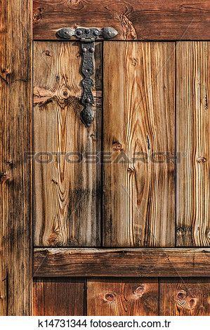antika, köylü, çam odunu, kapi, ile, dövme demir, menteşe Büyük Fotoğraf Görüntüsüne Bak