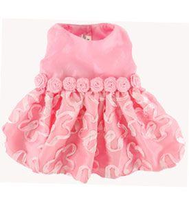 Fancy Dog Dress Pink Taffeta Ribbon Swirls Special Occasions 'Madison'