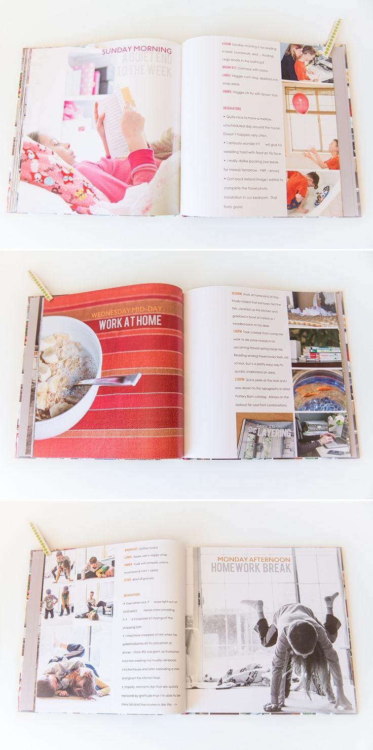 Livre photo Semaine dans la vie   suzanneobrienstud … AIMEZ cette mise en page et son idée …   – Photography   Projects, album designs, etc.