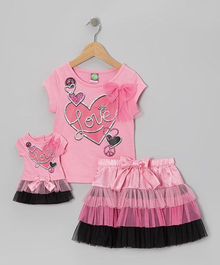 Pink 'Love' Skirt Set & Doll Outfit - Girls