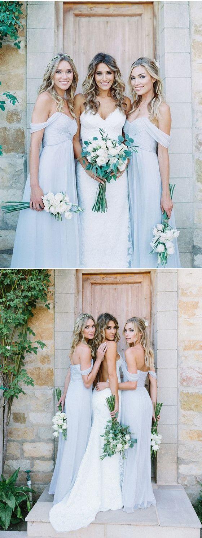 A Line Floor-length Ruched Chiffon Pale Light Blue Off-Shoulder Sweetheart Neckline bridesmaid dresses, BD0421