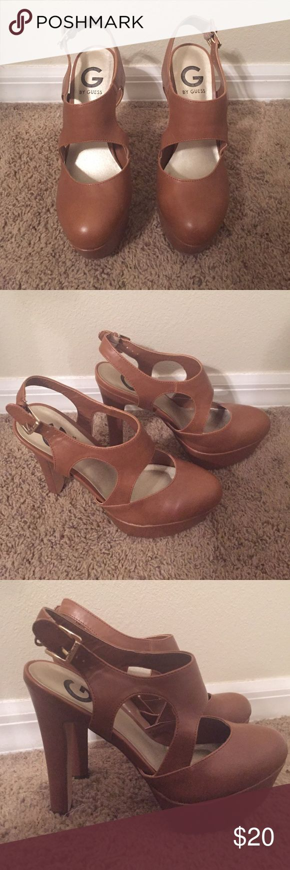 Guess Brown Strappy Heels Never worn! Bought with a some markings and wear on the bottom, but other than that they are in mint condition. G by Guess Shoes Heels