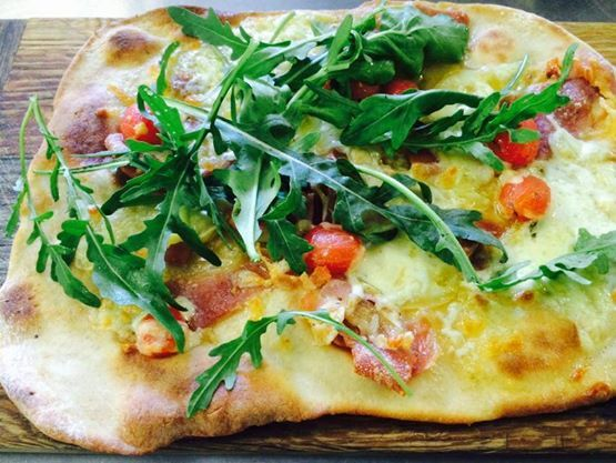 #lazylunches at the River Cafe. Come try our Prince Albert Parma ham and soetmelk Gouda flat bread! Pairs beautifully with a craft beer too...