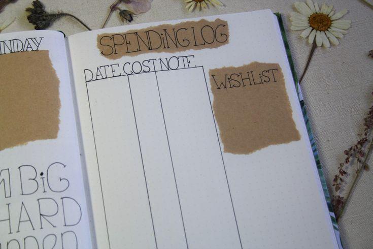 Bullet journal #3 - April, spending log