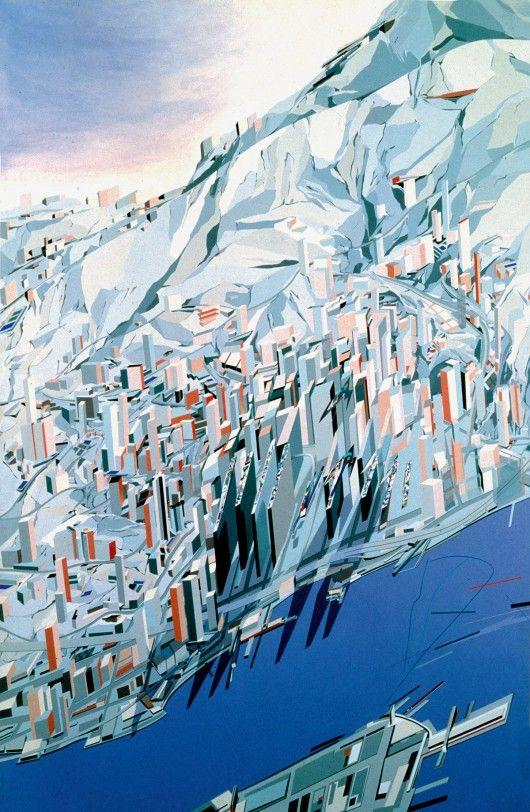 Zaha Hadid RA, The Peak Blue Slabs, 1982-83. Image © Zaha Hadid / Royal Academy of Arts
