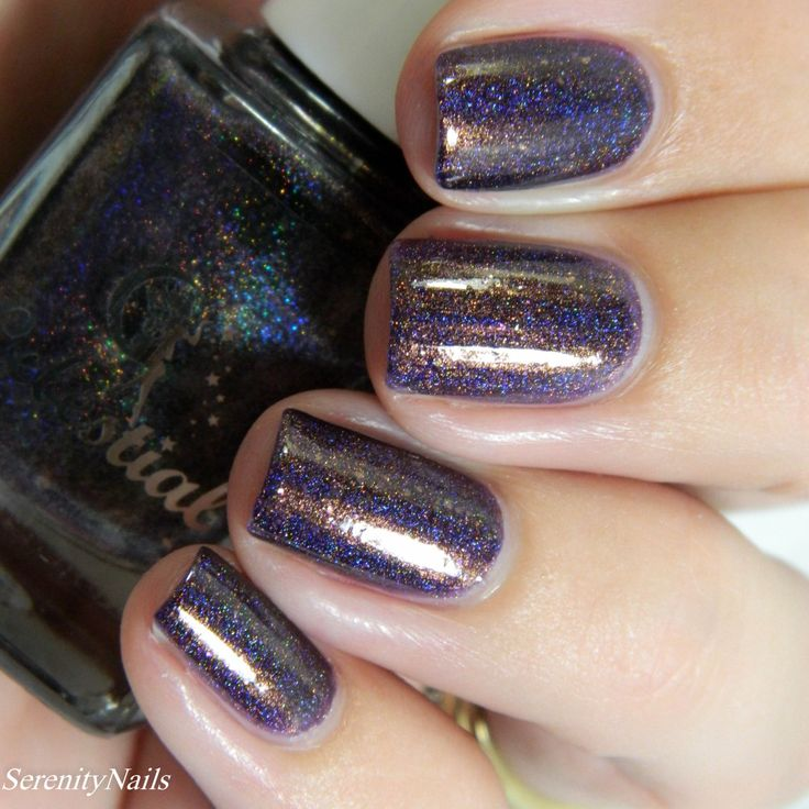 Celestial Cosmetics - Under Full Moon Light | Color4Nails Nightmare Before Christmas Holiday Box 2015 | Nov 11-15, 2015 | Under Full Moon Light is a red-toned dark amethyst purple based polish, with very strong linear holo (that's the blue in my photos), gold flakes, and strong bronze and antique gold shimmer.