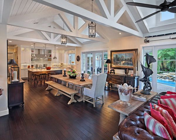 The 46 best images about open truss ceilings on pinterest for Great dining room ideas
