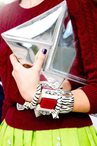 "<p><b>Similar items:</b><p><br /><p><b>Silver envelope clutch:</b> <br />Kate Spade Envelope Clutch, $298, <a href=""http://www.shopstyle.com/action/apiVisitRetailer?id=376182429"