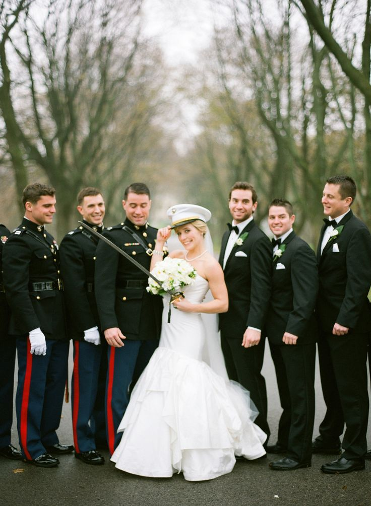 The photography in this wedding is so totally awesome! See the wedding on http://www.StyleMePretty.com/midwest-weddings/2014/04/02/classic-military-wedding-at-milwaukees-pfister-hotel/ The McCartneys Photography - meetthemccartneys.com