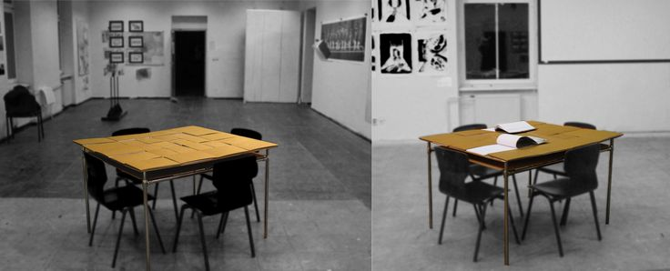Handmade table for artists consist of 28 handbounded blank sketchbooks. First and last pages are made from handprinted wood structure.  SmartTable was created as semestral project in Academy of Fine Arts in Banská Bystrica.