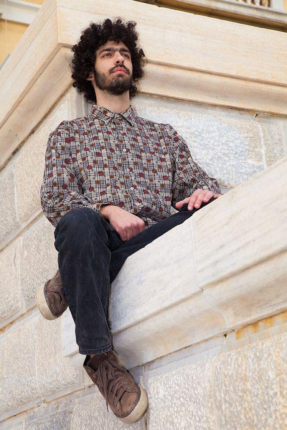 Vintage Men Cord Geometric Pattern Shirt, Red-Brown-Grey, 100% Cotton, Large