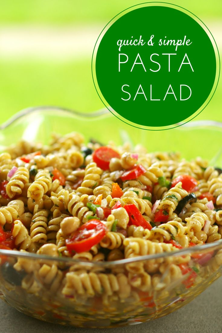 This quick simple pasta salad can be made in 15 minutes or less!  It's completely homemade including the dressing!