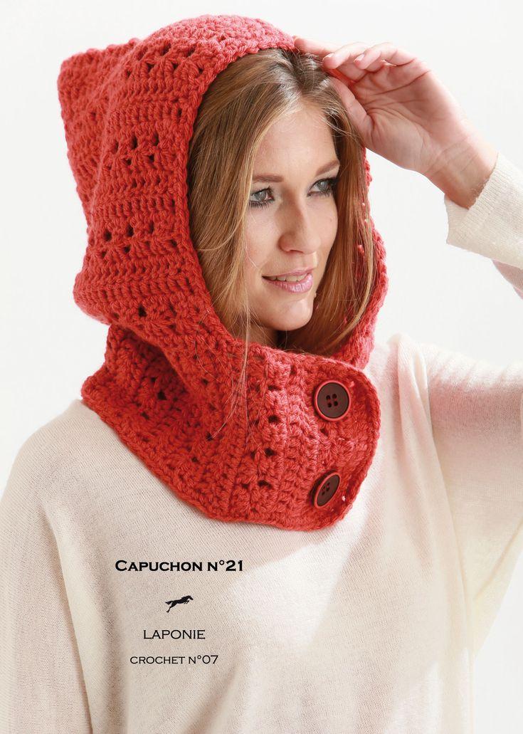 Modèle de tricot - Capuchon Femme - Catalogue Cheval Blanc n°21 - Laine utilisée : LAPONIE