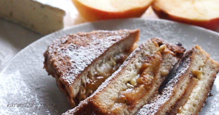 Tosty francuskie z karmelizowanym jabłkiem i serem brie