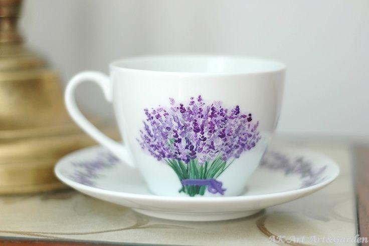 Ręcznie malowana filiżanka z lawendą / Hand painted cup with lavender