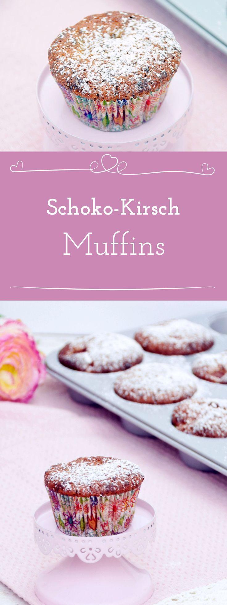 Schoko Muffins mit Sauerkirschen für den Spätsommer - Rezept für Schoko-Kirsch-Muffins von @missfancyde #schokokirschmuffins #muffins #schokomuffins