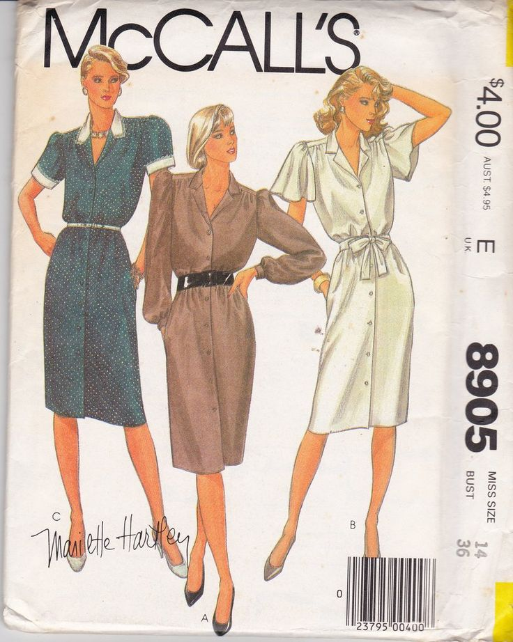 McCall's 8905 MARIETTE HARTLEY Womens Shirtdress with Sleeve Variations 80s Vintage Sewing Pattern Size 14 Bust 36 inches UNCUT Factory Folded