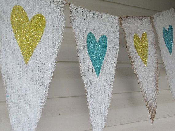 White Painted Burlap with pale yellow & pale aqua Glitter Hearts