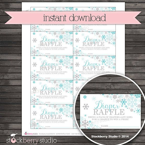 Winter Baby Shower Diaper Raffle Tickets Printable - Instant Download - Winter Wonderland Diaper Ticket Card - Baby It's Cold Outside
