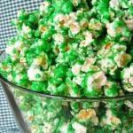 Green Popcorn: Food Colors, Green Candies, Stpatricksday, St Patricks Day, Popcorn Recipe, St Patti, Candies Popcorn, Popcorn Treats, Green Popcorn