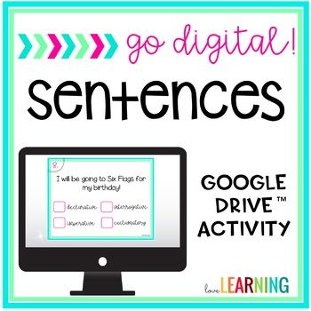 These digital sentence task cards are the perfect way to integrate technology in your Google Classroom! This activity uses Google Slides which you can access on a laptop, desktop, or tablet. This Activity Reviews: → Simple, Compound, and Complex Sentences → Declarative, Imperative, Interrogative, and Exclamatory → Simple Subject, Complete Subject, and Complete Predicate → Fragment and Run-on Sentences The Digital Practice Includes: → 24 multiple choice questions → 24 fill in the blank or...